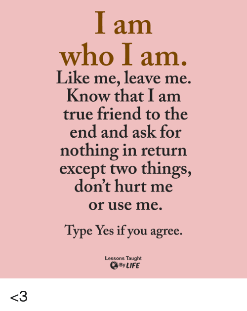 Memes, 🤖, and Ask: I am  who I am  Like me, leave me  Know that I am  true friend to the  end and ask for  nothing in return  except two things,  don't hurt me  or use me  Type Yes if you agree.  Lessons Taught  By LIFE <3
