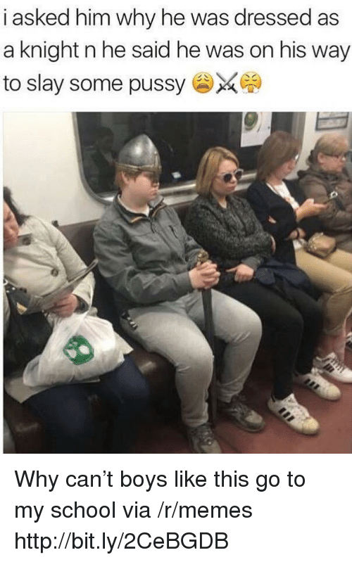 Memes, Pussy, and School: i asked him why he was dressed as  a knight n he said he was on his way  to slay some pussy Why can't boys like this go to my school via /r/memes http://bit.ly/2CeBGDB