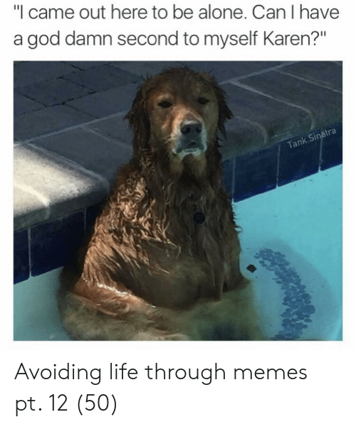"Being Alone, God, and Life: ""I came out here to be alone. Can I have  a god damn second to myself Karen?""  atra  k.Si  Tan Avoiding life through memes pt. 12 (50)"