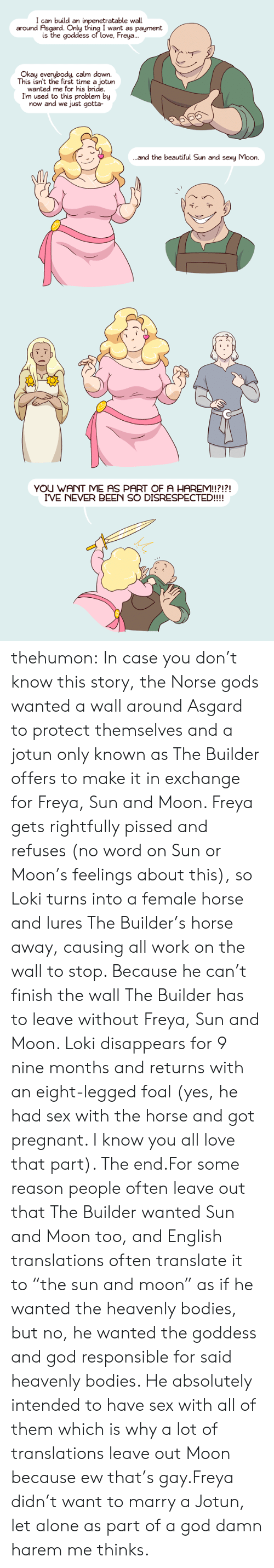 """Being Alone, Beautiful, and Bodies : I can build an inpenetratable wall  around Asgard. Only thing I want as payment  is the goddess of love, Freya..  Okay everybody, calm down.  This isn't the first time a jotun  wanted me for his bride  I'm used to this problem by  now and we just gotta-  and the beautiful Sun and sexy Moon.   YOU WANT ME AS PART OF A HAREM!!?!?!  I'VE NEVER BEEN SO DISRESPECTED!!!! thehumon:  In case you don't know this story, the Norse gods wanted a wall around Asgard to protect themselves and a jotun only known as The Builder offers to make it in exchange for Freya, Sun and Moon. Freya gets rightfully pissed and refuses (no word on Sun or Moon's feelings about this), so Loki turns into a female horse and lures The Builder's horse away, causing all work on the wall to stop. Because he can't finish the wall The Builder has to leave without Freya, Sun and Moon. Loki disappears for 9 nine months and returns with an eight-legged foal (yes, he had sex with the horse and got pregnant. I know you all love that part). The end.For some reason people often leave out that The Builder wanted Sun and Moon too, and English translations often translate it to """"the sun and moon"""" as if he wanted the heavenly bodies, but no, he wanted the goddess and god responsible for said heavenly bodies. He absolutely intended to have sex with all of them which is why a lot of translations leave out Moon because ew that's gay.Freya didn't want to marry a Jotun, let alone as part of a god damn harem me thinks."""