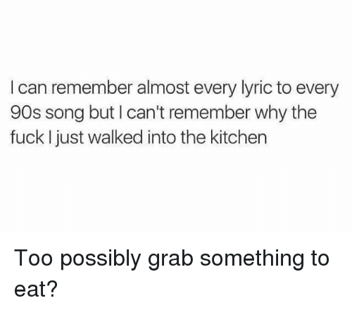 Dank, Fuck, and 90's: I can remember almost every lyric to every  90s song but I can't remember why the  fuck I just walked into the kitchen Too possibly grab something to eat?