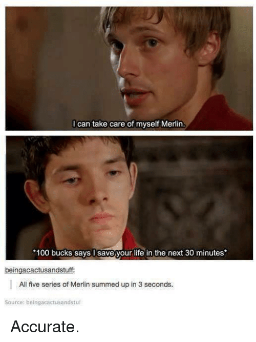 merlin: I can take care of myself Merlin  100 bucks says I save your life in the next 30 minutes*  All five series of Merlin summed up in 3 seconds.  Source: beingacactusandstul Accurate.