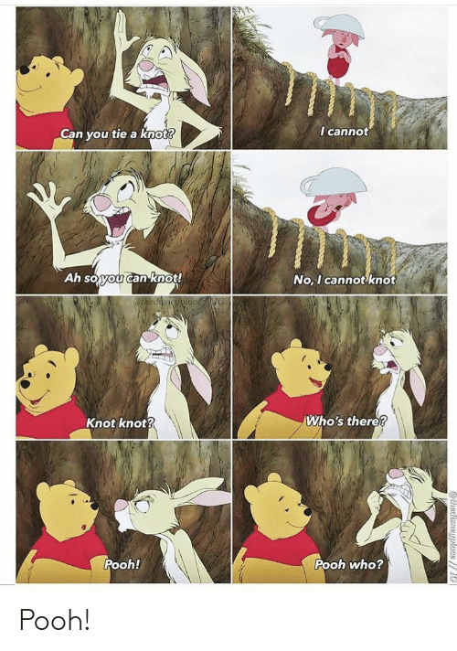 Knot: I cannot  Can you tie a knot?  Ah soyou canknot!  No, I cannot knot  @thediencyplacNG  Who's there?  Knot knot?  Pooh!  Pooh who?  athedisneyplace// Pooh!