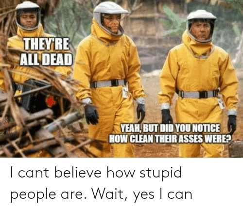 Yes I: I cant believe how stupid people are. Wait, yes I can