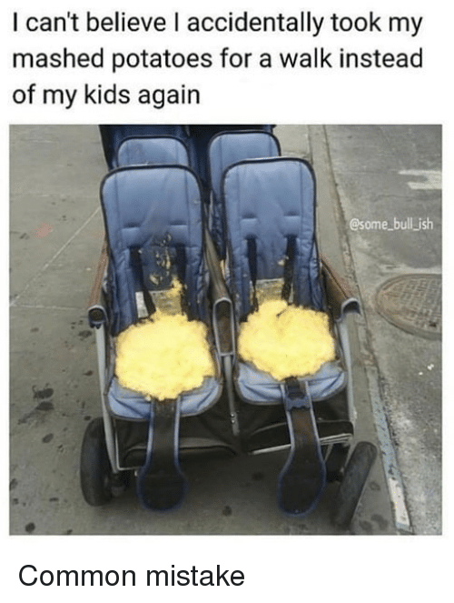Memes, Common, and Kids: I can't believe l accidentally took my  mashed potatoes for a walk instead  of my kids again  @some bull jish Common mistake
