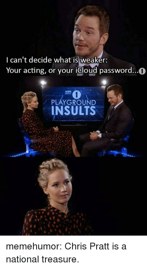 Chris Pratt, Radio, and Tumblr: I can't decide what is weaker:  Your acting, or your icloud password...0  RADIO  PLAYGROUND  INSULTS memehumor:  Chris Pratt is a national treasure.