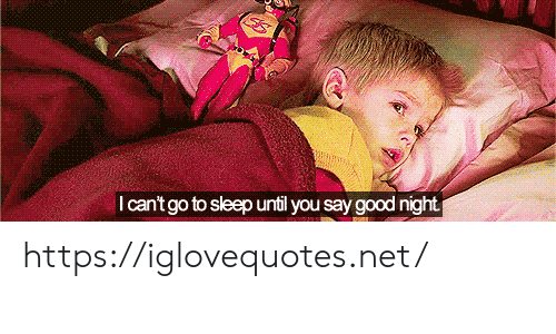 good night: I can't go to sleep until you say good night https://iglovequotes.net/