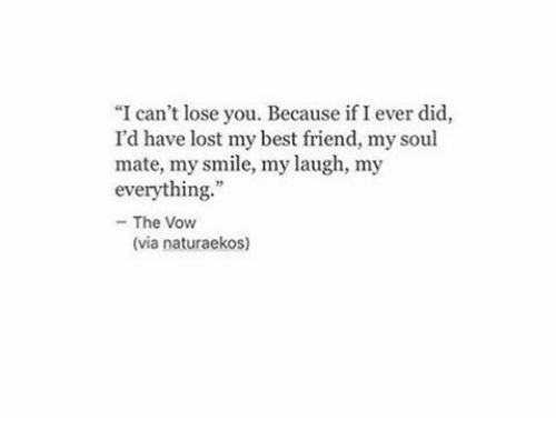 """Best Friend, The Vow, and Lost: """"I can't lose you. Because if I ever did,  I'd have lost my best friend, my soul  mate, my smile, my laugh, my  everything  - The Vow  (via naturaekos)"""