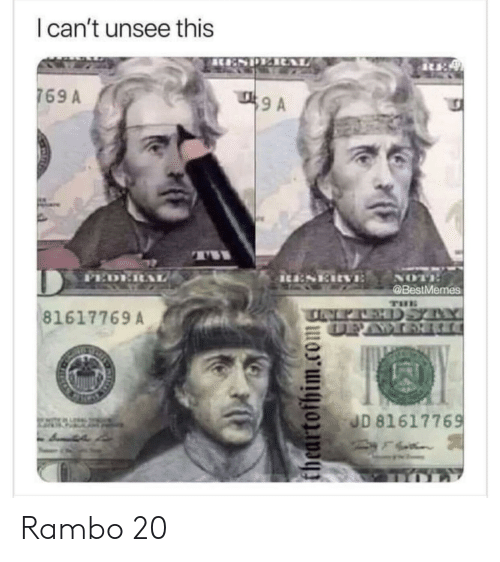 ita: I can't unsee this  769 A  9 A  PED  NOT  ita:SERVE  @BestMemes  THE  NEPALEHDSYY  DEAWOR  81617769 A  JD 81617769  theartofhim.com Rambo 20
