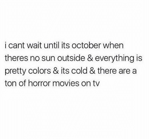 Movies, Horror Movies, and Cold: i cant wait until its october when  theres no sun outside & everything is  pretty colors & its cold & there are a  ton of horror movies on tv