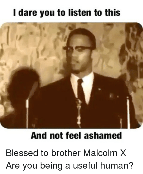 Malcolm X, Memes, and 🤖: I dare you to listen to this  And not feel ashamed Blessed to brother Malcolm X Are you being a useful human?