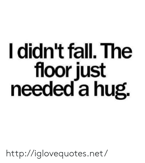 Fall, Http, and Net: I didn't fall. The  floor just  needed a hug. http://iglovequotes.net/