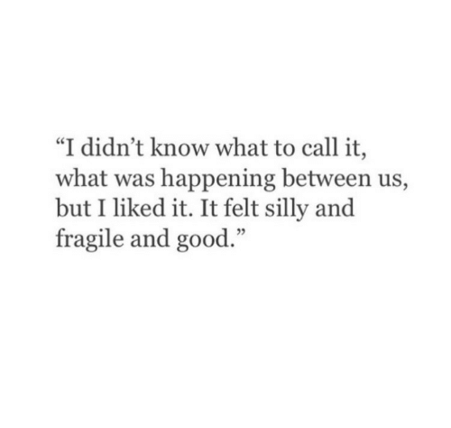 """Good, Call, and What: """"I didn't know what to call it,  what was happening between us,  but I liked it. It felt silly and  fragile and good."""""""
