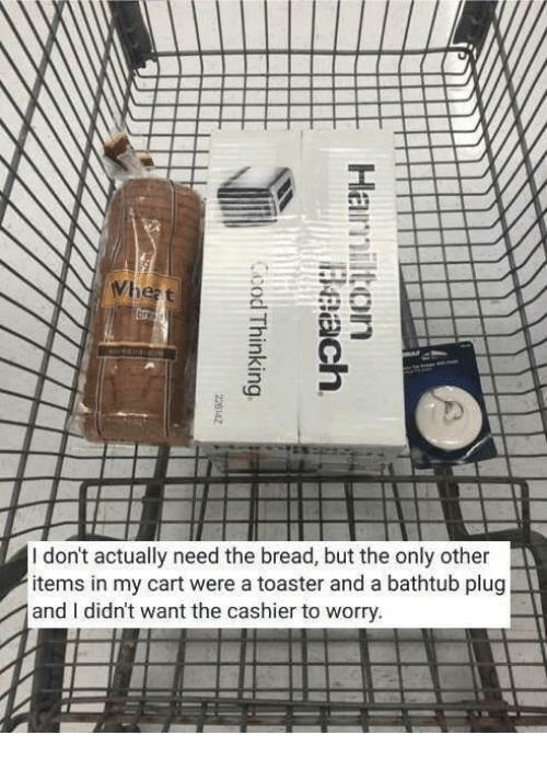 Wanted, Bread, and Plug: I don't actually need the bread, but the only other  items in my cart were a toaster and a bathtub plug  and I didn't want the cashier to worry