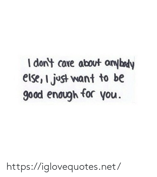 want: I don't care about anybody  else, I just want to be  good enough for you. https://iglovequotes.net/