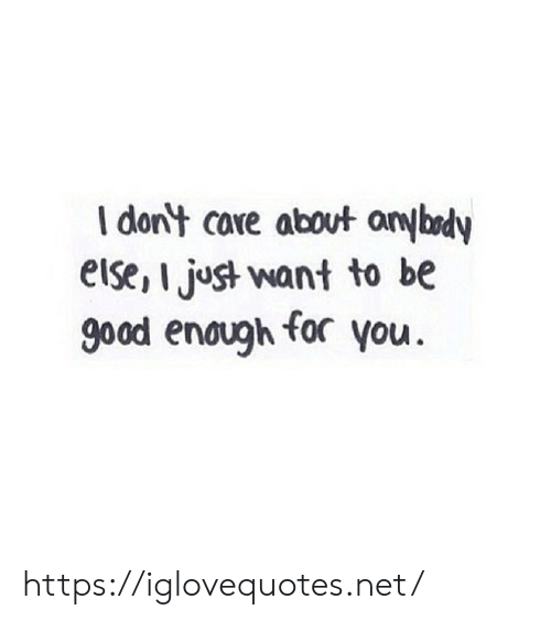 Good, Net, and Core: I dont core about anybody  else, I just want to be  good enough for you. https://iglovequotes.net/