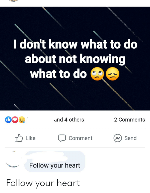Heart, Im 14 & This Is Deep, and Knowing: I don't know what to do  about not knowing  what to do  and 4 others  2 Comments  Send  Like  Comment  Follow your heart Follow your heart