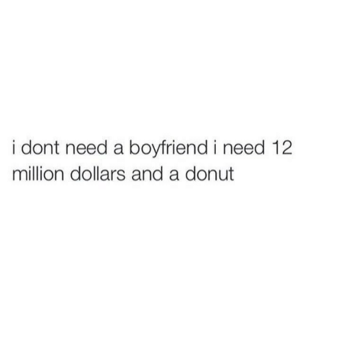 Boyfriend, Donut, and Million Dollars: i dont need a boyfriend i need 12  million dollars and a donut