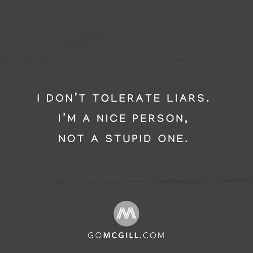 Nice, Com, and One: I DON'T TOLERATE LIARS.  I'M A NICE PERSON,  NOT A STUPID ONE.  GOMCGILL.COM