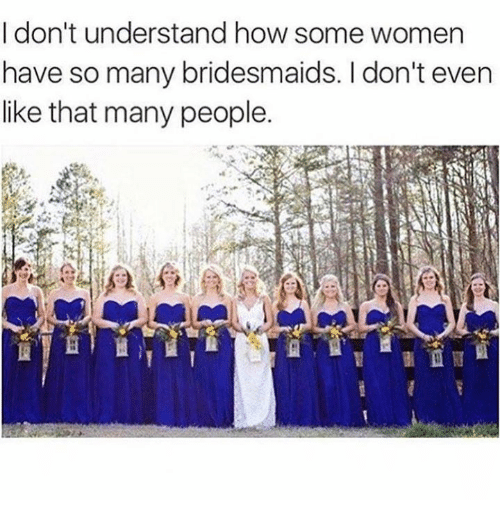 Memes, Bridesmaids, and Women: I don't understand how some women  have so many bridesmaids. I don't even  like that many people.