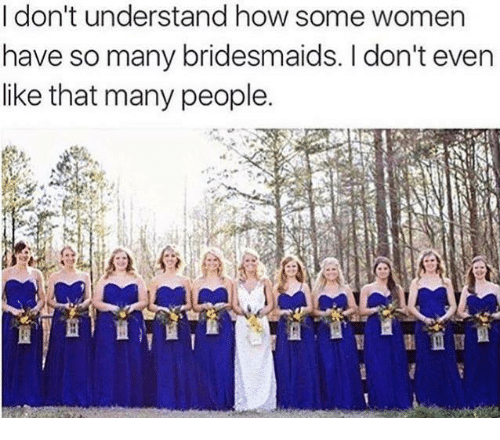 Dank, Bridesmaids, and Women: I don't understand how some women  have so many bridesmaids. don't even  like that many people.
