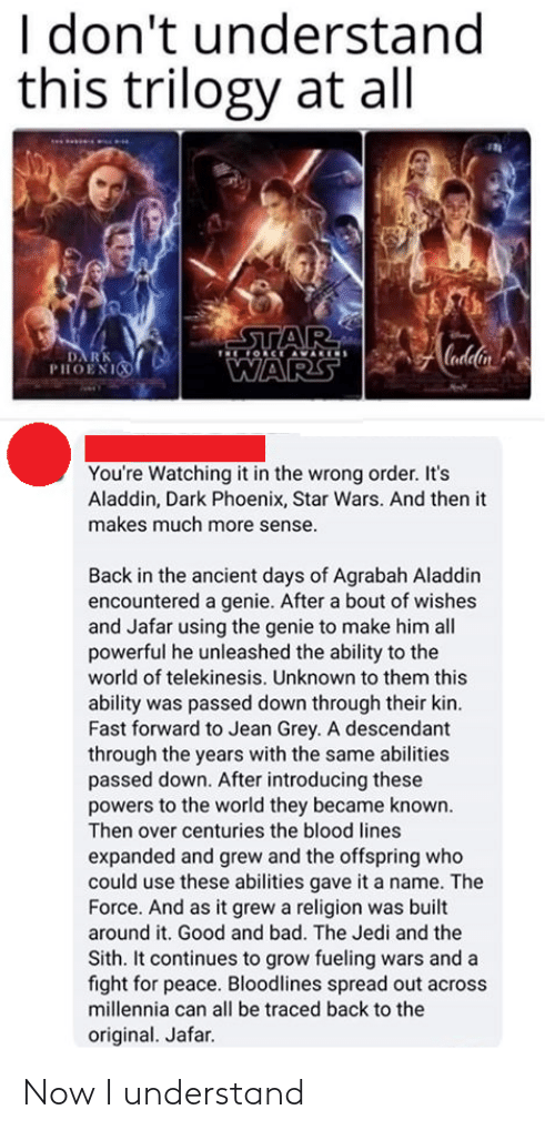 Religion: I don't understand  this trilogy at all  STAR  OCE AVARIS  Cadlin  DA RK  PHOENI  WARS  You're Watching it in the wrong order. It's  Aladdin, Dark Phoenix, Star Wars. And then it  makes much more sense.  Back in the ancient days of Agrabah Aladdin  encountered a genie. After a bout of wishes  and Jafar using the genie to make him all  powerful he unleashed the ability to the  world of telekinesis. Unknown to them this  ability was passed down through their kin.  Fast forward to Jean Grey. A descendant  through the years with the same abilities  passed down. After introducing these  powers to the world they became known.  Then over centuries the blood lines  expanded and grew and the offspring who  could use these abilities gave it a name. The  Force. And as it grew a religion was built  around it. Good and bad. The Jedi and the  Sith. It continues to grow fueling wars and a  fight for peace. Bloodlines spread out across  millennia can all be traced back to the  original. Jafar. Now I understand