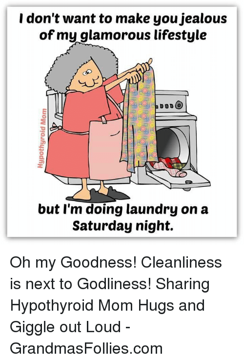 Jealous, Laundry, and Memes: I don't want to make you jealous  of my glamorous lifestyle  a DODO  but I'm doing laundry on a  Saturday night. Oh my Goodness! Cleanliness is next to Godliness! Sharing Hypothyroid Mom Hugs and Giggle out Loud - GrandmasFollies.com