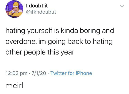 Going: I doubt it  @ifkndoubtit  hating yourself is kinda boring and  overdone. im going back to hating  other people this year  12:02 pm · 7/1/20 · Twitter for iPhone meirl