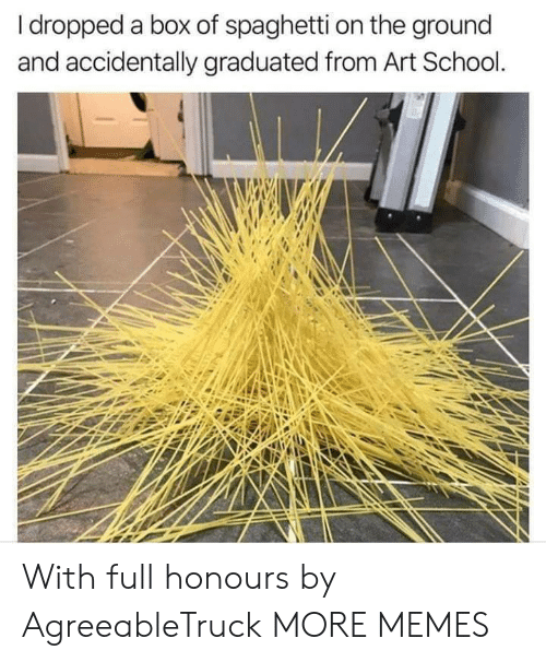 Dank, Memes, and School: I dropped a box of spaghetti on the ground  and accidentally graduated from Art School. With full honours by AgreeableTruck MORE MEMES