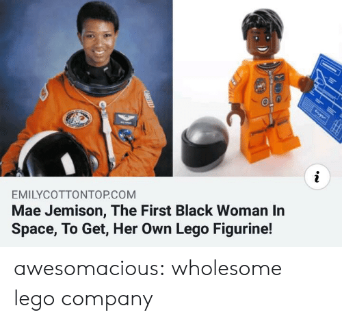Lego, Tumblr, and Black: i  EMILYCOTTONTOP.COM  Mae Jemison, The First Black Woman In  Space, To Get, Her Own Lego Figurine! awesomacious:  wholesome lego company
