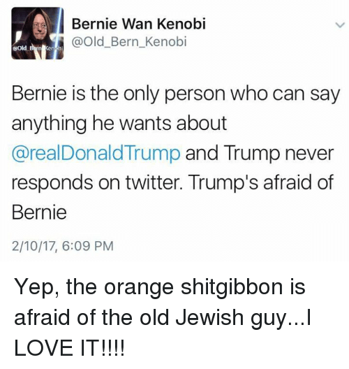 Shitgibbon: I ernie Wan Kenobi  @Old Bern Kenobi  ene b  Bernie is the only person who can say  anything he wants about  arealDonald Trump and Trump never  responds on twitter. Trump's afraid of  Bernie  2/10/17, 6:09 PM Yep, the orange shitgibbon is afraid of the old Jewish guy...I LOVE IT!!!!