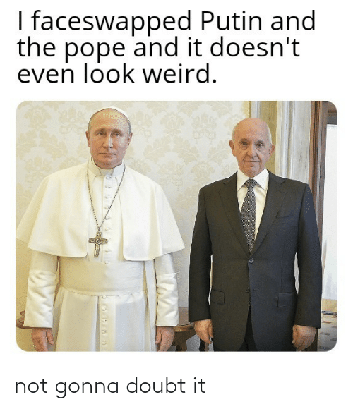 Doubt: I faceswapped Putin and  the pope and it doesn't  even look weird. not gonna doubt it