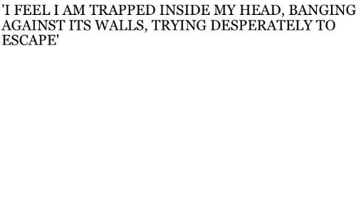 Banging: 'I FEEL I AM TRAPPED INSIDE MY HEAD, BANGING  AGAINST ITS WALLS, TRYING DESPERATELY TO  ESCAPE'