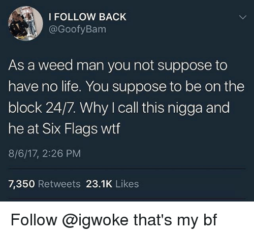Life, Memes, and Weed: I FOLLOW BACK  @GoofyBanm  As a weed man you not suppose to  have no life. You suppose to be on the  block 24/7. Why I call this nigga and  he at Six Flags wtf  8/6/17, 2:26 PM  7,350 Retweets 23.1K Likes Follow @igwoke that's my bf
