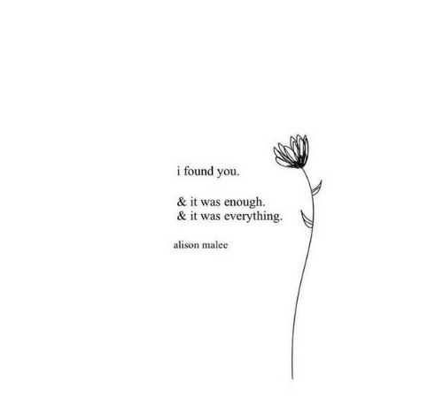 i found you: i found you  & it was enough  & it was everything.  alison malee
