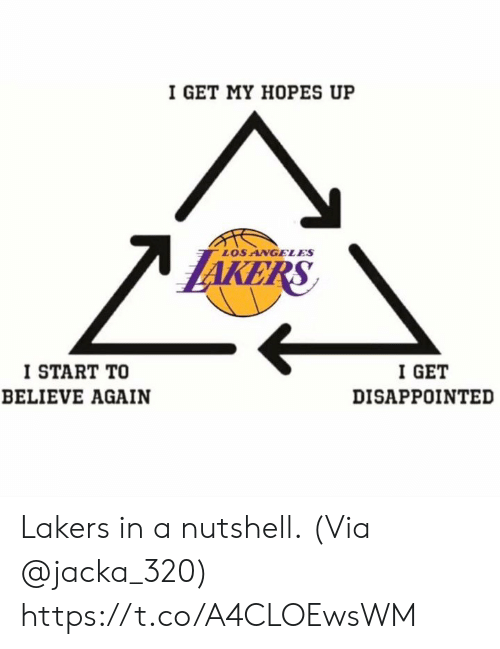 Disappointed, Los Angeles Lakers, and Memes: I GET MY HOPES UP  LOS ANGELES  KE  I START TO  BELIEVE AGAIN  I GET  DISAPPOINTED Lakers in a nutshell.  (Via @jacka_320) https://t.co/A4CLOEwsWM