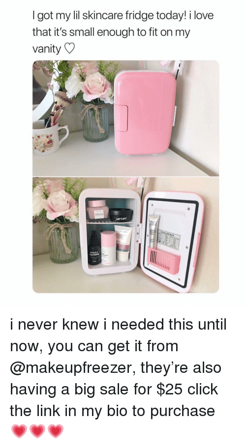 Vanity: I got my lil skincare fridge today! i love  that it's small enough to fit on my  vanity  COOLER BOX i never knew i needed this until now, you can get it from @makeupfreezer, they're also having a big sale for $25 click the link in my bio to purchase 💗💗💗
