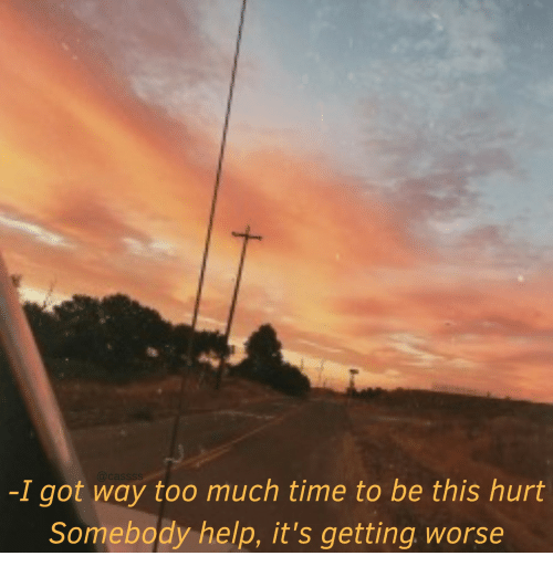 too-much-time: -I got way too much time to be this hurt  Somebody help, it's getting worse