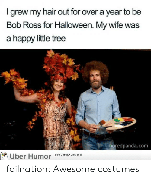 Costumes: I grew my hair out for over a year to be  Bob Ross for Halloween. My wife was  a happy little tree  boredpanda.com  Uber Humor  Bob Loblaw Law Blog failnation:  Awesome costumes