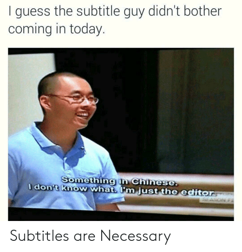 Chinese, Guess, and Today: I guess the subtitle guy didn't bother  coming in today  Somethingin Chinese  dont know what m just the editor Subtitles are Necessary