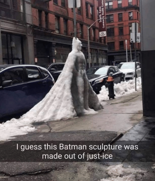 Batman, Guess, and Ice: I guess this Batman sculpture was  made out of just-ice