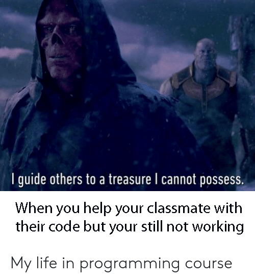 Life, Help, and Programming: I guide others to a treasure l cannot possess.  When you help your classmate with  their code but your still not working My life in programming course