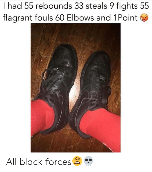 Elbows: I had 55 rebounds 33 steals 9 fights 55  flagrant fouls 60 Elbows and 1Point All black forces😩💀