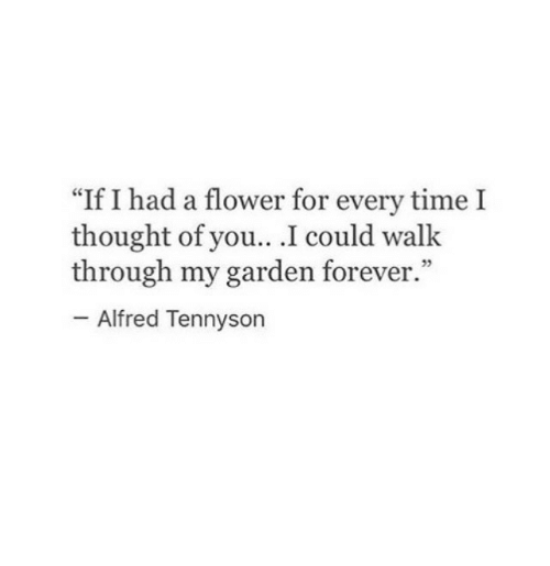 """Flower, Forever, and Time: I had a flower for every time I  thought of you.. .I could walk  through my garden forever.""""  """"If  25  Alfred Tennyson"""