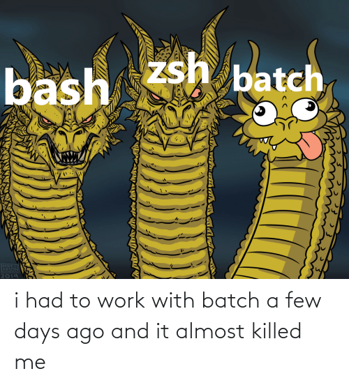 I Had: i had to work with batch a few days ago and it almost killed me