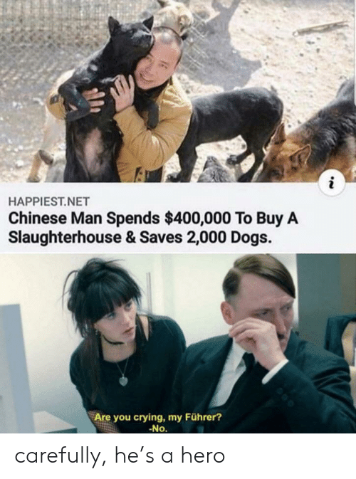 Crying, Dogs, and Reddit: i  HAPPIEST.NET  Chinese Man Spends $400,000 To Buy A  Slaughterhouse & Saves 2,000 Dogs.  Are you crying, my Führer?  -No. carefully, he's a hero