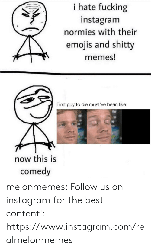 Fucking, Instagram, and Memes: i hate fucking  instagram  normies with their  emojis and shitty  memes!  First guy to die must've been like  now this is  comedy melonmemes:  Follow us on instagram for the best content!: https://www.instagram.com/realmelonmemes
