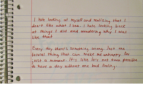 Af, Bad, and Back: I hate looking af myself and realizing that (  idonit like what I see .. I hate looking back  at things I did and wondering why L was  like thoct  Exery day therels something urang. Just ohe  tivial thing that can ake me unhappy far  st a moment. IHis like Itis not even posible  to have a day without one bad feelin  OSSI
