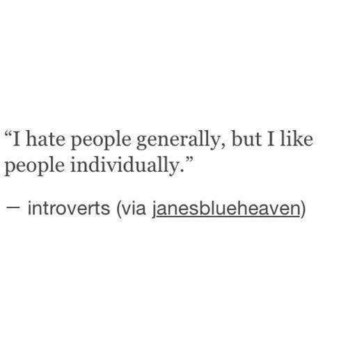 """hate people: """"I hate people generally, but I like  people individually.""""  introverts (via janesblueheaven)"""
