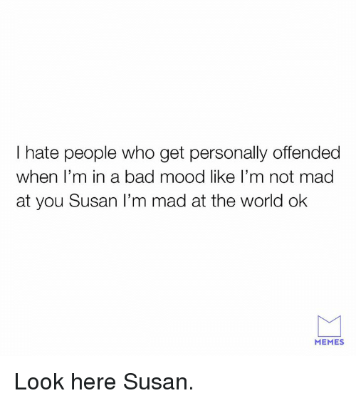 hate people: I hate people who get personally offended  when l'm in a bad mood like l'm not mad  at you Susan I'm mad at the world ok  MEMES Look here Susan.